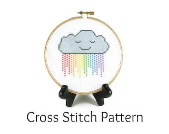 Rainbow Rain Cloud Counted Cross Stitch Pattern