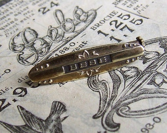 Vintage French Bébé Brooch or Pin, Gilt Bib Pin
