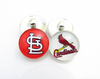 Set of 2 St. Louis Cardinals Snaps 18 mm Snaps - Fits Ginger Snaps and Magnolia Snaps