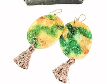 Yellow and Green Carved Jade Earrings