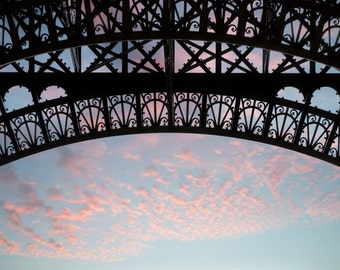 Paris Eiffel Tower Photography - Architectural Detail, Sunrise Sky, Urban Wall Decor, French Fine Art Travel Photograph