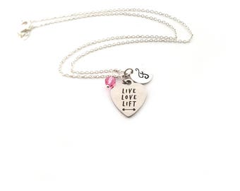 Live Love Lift Charm - Silver - Birthstone Necklace - Personalized Initial Necklace - Sterling Silver Jewelry - Gift for Her