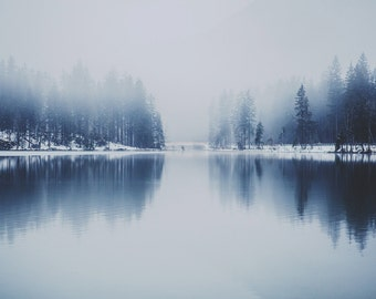 Winter Lake Photo - Misty Lake Printable - Winter Print - Winter Landscape Photo - Digital Photo - Digital Download - Instant Download