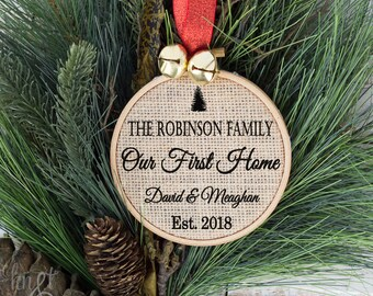 Personalized First Home Christmas Ornament, Christmas Ornament, Housewarming, Holiday Ornament, Our First Home, Our First Christmas
