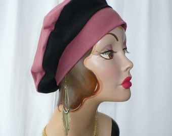 Marsala and Black Cotton Jersey Beret, Chemo Hat