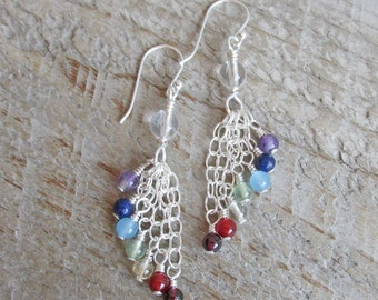 Chakra Healing Natural Gemstone Earrings, Sterling Silver Chain Cascade Earrings
