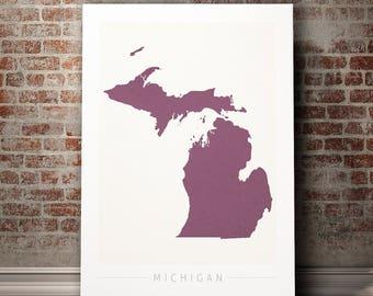 Michigan Map - State Map of Michigan - Art Print Watercolor Illustration Wall Art Home Decor Gift - COLOUR PRINTS