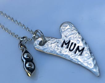 Peas in a pod Sterling Silver mum heart necklace, Mother's Day gift, Gifts for mum, sisters, friends, Personalised gifts.