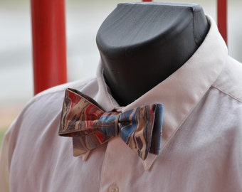 Bow Ties Are Cool with Bright Blue, Purple and Vibrant Red Marbled Lines Made in Asheville NC MM-#15-17