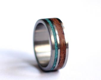 Steel Mens Ring, Stainless Steel and Mahogany Wedding Ring, Wood Mens Band, Turquoise Wedding Ring,