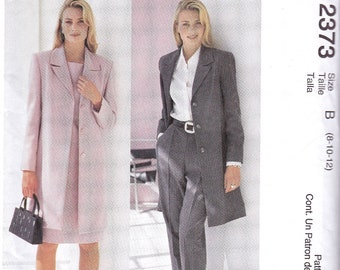 McCalls 2373,  Long Lined Jacket and Sheath Dress Suit or Single Front Pleat Pants Suit, Career Suit, Sewing Pattern, Sizes 8, 10 and 12,