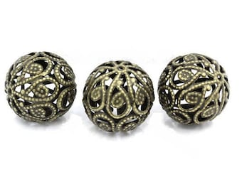 Set of 2 beautiful bronze colored metal beads filigree 20 mm