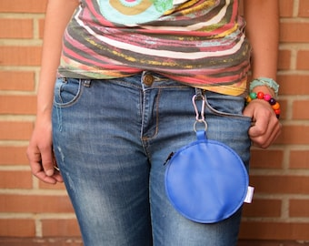 Belt bag,waist bag,leather fanny pack,rainbow purse,belt purse,circle purse,blue leather bag,leather purse bag,hook coin purse,hook purse