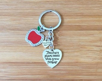Teachers plant seeds that grow forever keychain heart red apple charm teacher gift appreciation thank you end of year