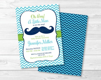 Mustache Baby Shower Invitation / Mustache Baby Shower Invite / Chevron Pattern / Little Man Baby Shower / Oh Boy Shower / PRINTABLE A382