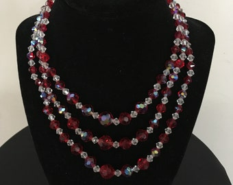 Vintage Mid-century Red Aurora Borealis and Clear Crystal Three-strand Necklace