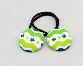 St. Patricks Hair Elastic, Shamrock Hair Elastic for Adult, Small Gift for Girl, Unique Gift, Clover Button Hair