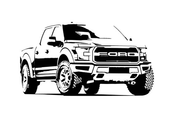 Ford f150 outline bw front side view vector vectorized print freerunsca Choice Image