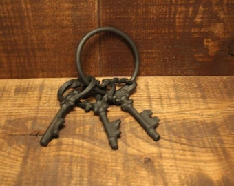 "D.M.T.C. Cast Iron Skeleton Keys painted Black set of 3 on a ring.  Approx 4"" each key."
