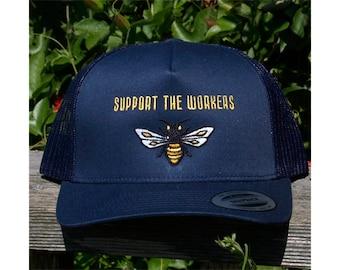SUPPORT THE WORKERS Honeybee Trucker Hat in Navy Blue