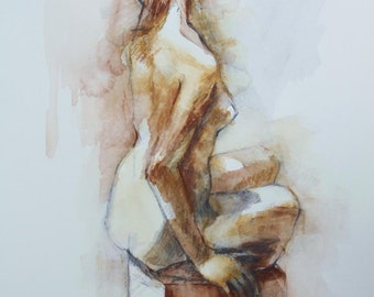 Watercolor Figure Drawing of Nude in Silver and Bronze Reproduction