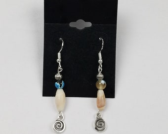 Blue Agate Shell Spiral Wave Dangle Drop Earrings