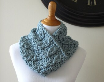 Knit Cowl, Chunky Cowl, Light Blue Cowl, Circle Scarf, Chunky Infinity Cowl, Hand Knit Cowl, Cabled Cowl, Women's Knit Cowl, Women's Cowl