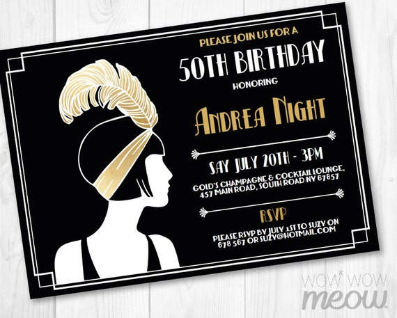 gold 1920 u0026 39 s invitation gold birthday invite art deco any