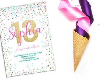 Girl birthday invite etsy 13th birthday invitation filmwisefo
