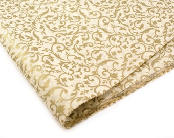 24 sheets of Tissue Paper Antique Gold & Floral  Vines - 100% recycled 15 x 20 inch Tissue Paper for Packaging, Weddings, Gift Wrapping