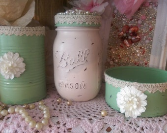3 Piece Set Shabby Chic Desk or Vanity .. Ball Mason Jar Cans Clothespin Clip .. Mint Green Ivory .. Embellished Lace Paper Flowers Pearls