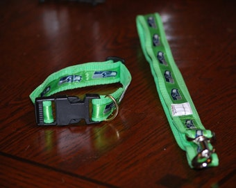 "The Seattle Seahawk collar  and Leash set  collar is 1"" wide webbing "" leash 60"" length send neck measurements for collar"