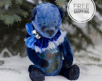 Artist teddy bear Christmas gift Plush toy bear Artist teddy Christmas toy Bear New Years Bear Christmas bear Toy plush bear Blue bear OOAK