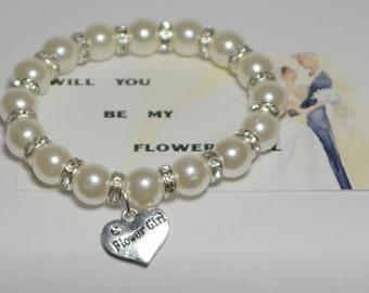 flower girl bracelet - will you be my flower girl gift - flower girl jewelry - junior bridesmaid - bridal party gift - thank flower girl