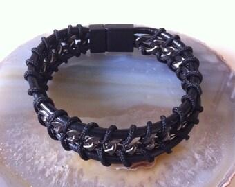 Mens genuine leather bracelet, men's leather cuff bracelet, stainless steel bracelet, handmade bracelet, wrapped bracelet, gift for him