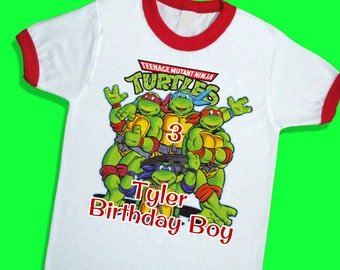 Teenage Mutant Ninja Turtles Birthday Ringer Tee. Personalized Birthday Shirt with Name and Age. 1st 2nd 3rd 4th 5th 6th Birthday. (25023)