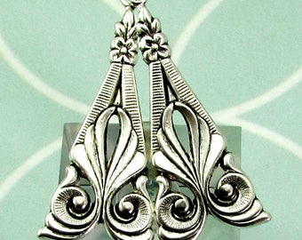 Art Deco Drop, Antique Silver, 2 pc. AS460