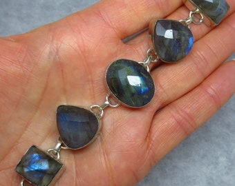 Labradorite Bracelet - Sterling Silver - Mixed Shapes - Checkerboard Faceted - sa161384