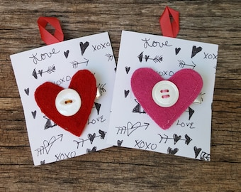 Have a Heart - Reclaimed wool HEART clips