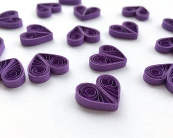 Quilled Hearts Paper Quilling Art Confetti Scatter Ornaments Gifts Fillers Easter Mothers Day Baby Bridal Shower Wedding Purple Spring