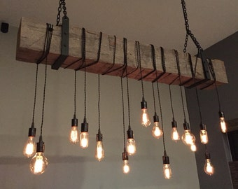 Reclaimed Wooden Barn Beam Industrial Light Fixture with Brackets and Wrapped LED Edison Bulbs  Rustic Modern Chandelier lighting