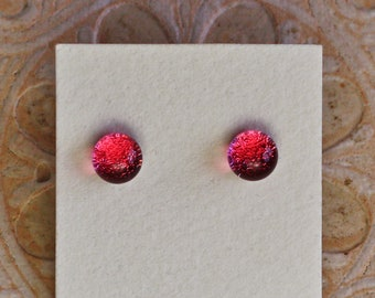 Dichroic Glass Earrings, Petite, Pink  DGE-1352