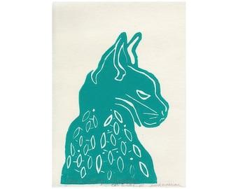 linocut cat print on Shiramine rice paper, small art work, Cat Wings III