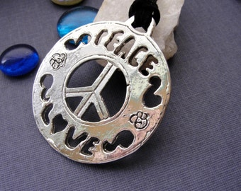 Sterling Silver Peace and Love Necklace Pendant