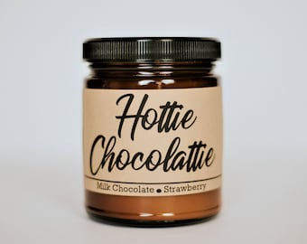 Chocolate Strawberry Scented Soy Candle, Chocolate Flavored Soy Candle, Romance 8oz Soy Candle, Hottie Chocolattie, Chocolate Strawberry