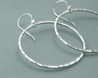 "Hammered Ring Earrings - Fine Silver - 1 1/2"" Hoops"