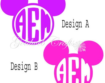 Mickey Mouse Head Inspired Monogram Vinyl Car Decal