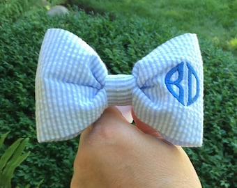 Personalized Dog Bow Tie - Monogrammed Blue Seersucker - Small Medium Large Bow Tie - Best Puppy Dog Gift by Three Spoiled Dogs