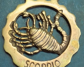 Rare vintage HORSE BRASS Astrological SCORPIO the Scorpion Style Design Made in England
