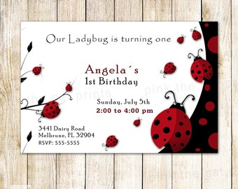 Ladybug Birthday Invitation - 1st Birthday Party or Baby Shower Invite Printable Personalized Lady Bug Card